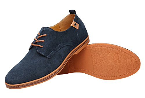 EOZY Richelieu à Lacet Cuir Pu Suédé Homme Style Anglais Chaussure De Ville Bureau Marine 47