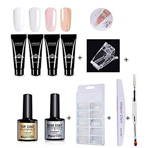 109Pcs Polygel Nail Kit, Gel Extension Nail Kit Poly Gel Kit All in One - 4 * Poly Gel, Dual Head Nail Brush, Model Nail Tips, Clip, Nail File, Top Coat & Base Coat Gel Polish Aolvo