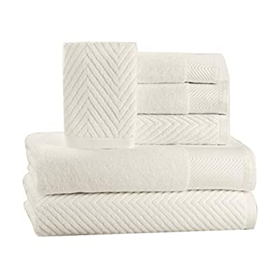 6 Piece Premium Cotton Bath Towels Set - 2 Bath Towels, 2 Hand Towels, 2 Washcloths Machine Washable Super Absorbent Hotel Spa Quality Luxury Towel Gift Sets Chevron Towel Set - Ivory - LUXURY AND ELEGANCE - This textured towel set made with ultra-soft 100 percent Cotton is super absorbent and soft to the touch. The beautiful Chevron pattern gives your bathroom an appealing look. DURABLE & MOISTURE WICKING The towels are generously sized, have exceptional absorbency and are quick drying. The fabric glides smoothly over your body wicking away moisture. 6 PIECE SET includes 2 bath towels (28 inches wide x 54 inches long), 2 hand towels (16 inches wide x 26 inches long), and 2 washcloths(13 inches wide x 13 inches long) for all your versatile needs - bathroom-linens, bathroom, bath-towels - 41BCK gfYAL. SS400  -
