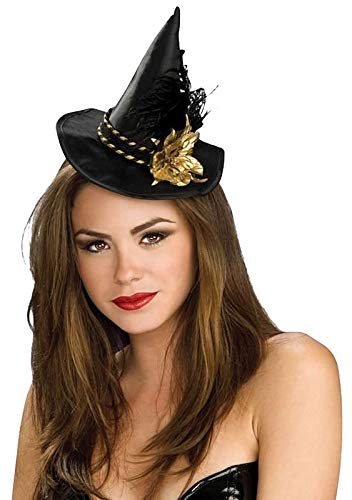 Flower Hats For Halloween (Mini Black Witch Hat with Gold Flower Halloween)