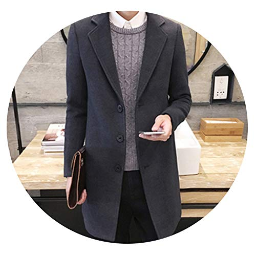 (Autumn/Winter Fashion New Men Leisure Pure Color Trench Coat/Man's Single-Breasted Long Windbreaker Wool Blends,Dark Gray,XXL)