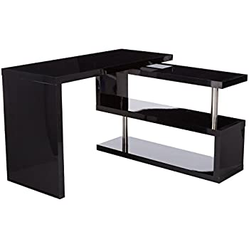 Amazoncom HomCom Rotating Office Desk and Shelf Combo Black