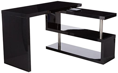 Homcom Rotating Office Desk And Shelf Combo Black Buy