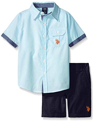 U.S Boys Little Long Sleeve Gingham Check Woven Shirt and Twill Short Polo Assn