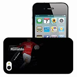Personalized iPhone 4 4S Cell phone Case/Cover Skin Ronaldo Flying FIFA Cristiano Ronaldo Manchester United Football Black