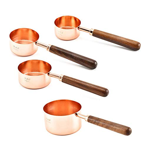 Measuring Cup Set, 4PCS Copper Stainless Steel Measuring Cups with Long Wooden Handle, Pouring Spouts, Different Sizes for Dry & Liquid Ingredients Baking Cooking, 60ml 80ml 125ml 250 Ml