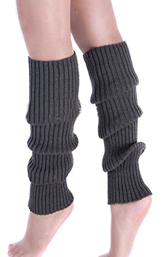 Eforstore Puro Colore Fluorescente Solido Gamba Invernale Scaldamuscoli Ginocchio Alta Maglia Maglieria Calze Di Avvio Socking Legging Per Donne E Ragazze Grigio Scuro