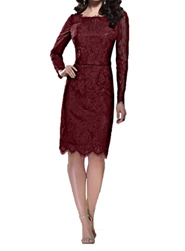 Burgundy Promkleider Brautmutterkleider Damen Langarm Charmant Etuikleider Abschlussballkleider Spitze Schwarz Knielang HwpX1Xxqzn