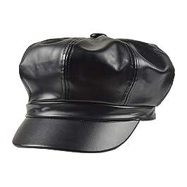 Gemini_mall Ladies Winter Warm Faux Leather 8 Panel Baker Boy Cap Peaked Beret Hat Flat Caps Newsboy Hat