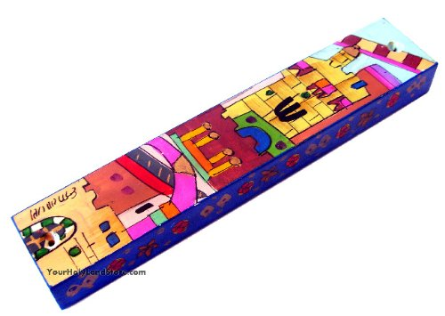 Mezuzah Case with Hand Painted Old City Jerusalem - Wood - Jewish Home Gift by YourHolyLandStore (Image #2)