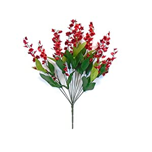 """Lily of Valley Bush Artificial Silk Flowers 20"""" Bouquet 6217 RED 105"""