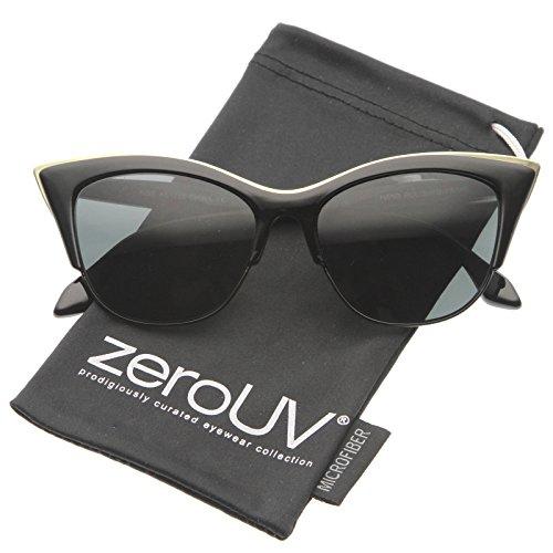 zeroUV - Women's Oversize Half Frame Exaggerated Cat Eye Sunglasses 54mm (Black / - Cat Eye Sunglasses Exaggerated