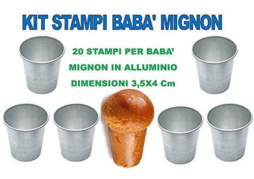 20 Forme Casa dolce casa Baba Mignon Forma Stampo in Alluminio per Dolci,Dimensioni 3,5X4 CM Kit 3/° CDC