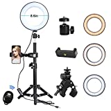 KTELE 8.6' Selfie Ring Light with Tripod Stand for YouTube Video and Makeup with Cell Phone Holder Desktop LED Lamp with 3 Light Modes & 11 Brightness Level ,Remote