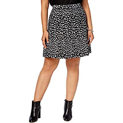 MICHAEL Michael Kors Womens Plus Metallic Leopard Print A-Line Skirt