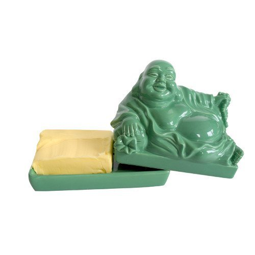 CKB Ltd Buddha Budai Decoration Vintage Home Butter Dish - Novelty Cool Tray with Lid (Jade - Centerpiece Jade
