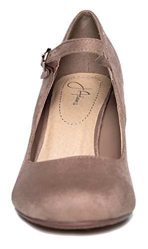 Chunky Toe Round Comfortable J Light Block Cute Mary Taupe Adams Skippy Pumps Heels Suede Jane wnWHfp
