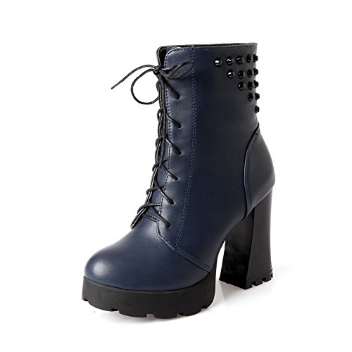 Boots Lace Material Heels High Top up Toe Low Round AgooLar Soft Closed Women's Blue Ff1nWCR