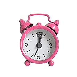 BB67 Mini Vintage Classic Analog Alarm Clock, Battery Operated Travel Clock, Creative Cute Mini Metal Small Electronic Alarm Clock for Kids(2.48''×0.78''×1.69'') (6.3x2x4.3cm, Pink)