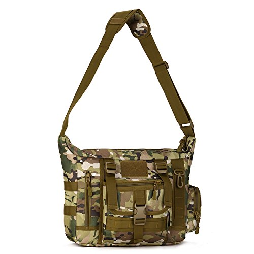 Camouflage Laptop Bag - Military Shoulder Bag Large Water Resistant Daypack with Molle 14 Inch Laptop Crossbody Messenger Bag for Hunting Camping Trekking Men Women CP Camouflage