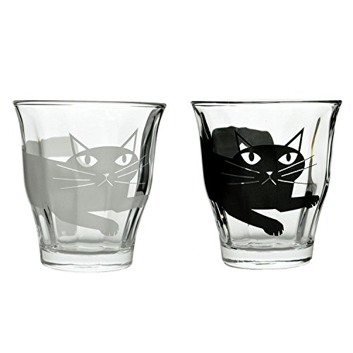 Set of Black and White Dear Cat Glass Cups 7.7oz - Perfect Cat Lovers Gift (2 Cat - Glasses With White And Black Cat