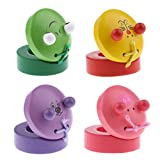 D DOLITY 4 Pieces Colorful Animal Wooden Finger Castanets Musical Percussion Instrument for Kids Toy
