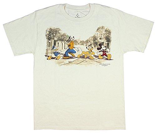Disneyland Disney World Main Street USA Classic Character Men's T-Shirt (X-Large) Off-White