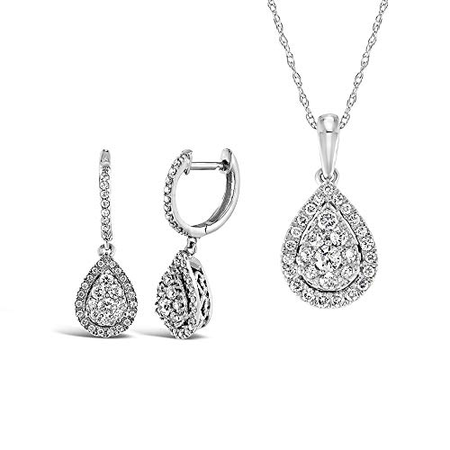 Brilliant Expressions 10K White Gold 1-1/10 Cttw Conflict Free Diamond Teardrop Halo Earrings and Adjustable Pendant Necklace Set (I-J Color, I2-I3 Clarity), 16-18 inch