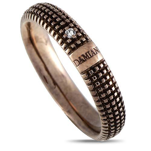 Damiani Metropolitan 18K Rose and Black Gold 1 Diamond Textured Band Ring
