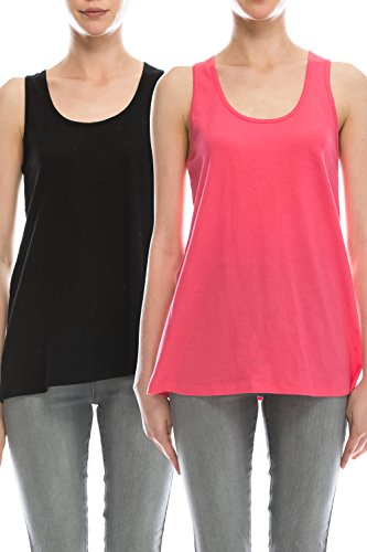 EttelLut Loose Fit Relaxed Flowy Knit Tank Top: workout jersey sexy cheap pack Black/Coral L