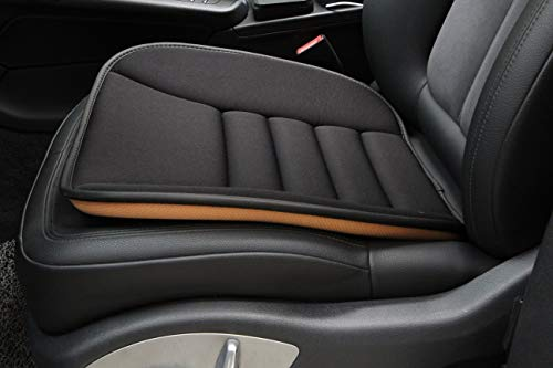 (CAR ROVER Car Interior Seat Cover Cushion Pad Mat with Memory Foam for Auto Supplies Office Chair (Black, Pack of 1))