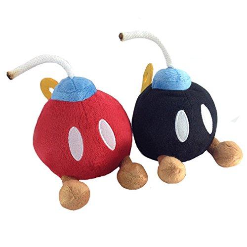 Super Mario Bros. 2 Bob-omb Bomb Red Black Plush Soft Toy Stuffed Animal 5.5