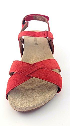 BENVADO - Sandalias de vestir de ante para mujer Rojo rojo M