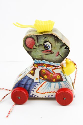 (Vintage Merry Mouse Wife Fisher Price Pull Toy)