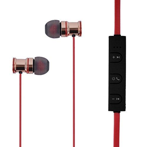 eDealMax correnti di Sport di ricarica USB auricolare Bluetooth Stereo in-Ear Headset Auricolare Red