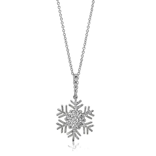 BERRICLE Rhodium Plated Sterling Silver Cubic Zirconia CZ Snowflake Pendant Necklace 16 2 Extender
