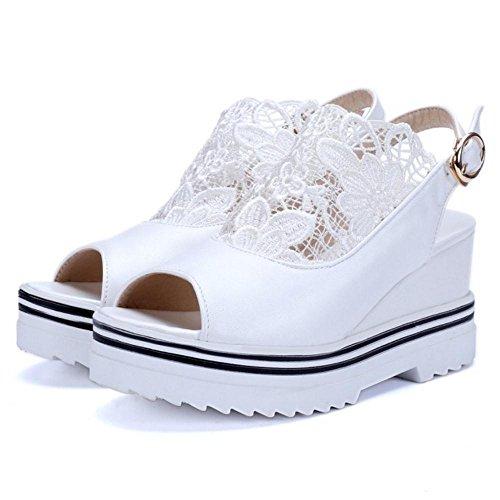Straps White Schuhe Keilabsatz COOLCEPT Mode Damen Sandalen wxBqS1XUS