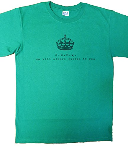 G.C.H.Q. - We always listen to you heavyweight cotton T Shirt in Green (Medium (38/40))