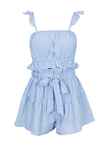 Missy Chilli Women's Sweet Ruffle Strap Sleeveless Plaid Top and Short Two Piece Playsuit Mini Jumpsuit Blue White Plaid Size (Blue Gingham Mini)