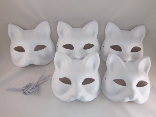 [Hope you're painting fun Tick Nick everyone! Set of 5 / Costume fancy dress cosplay tool DIY handmade mask mask mask summer festival white fox Mask deals (japan] (Diy Costume)