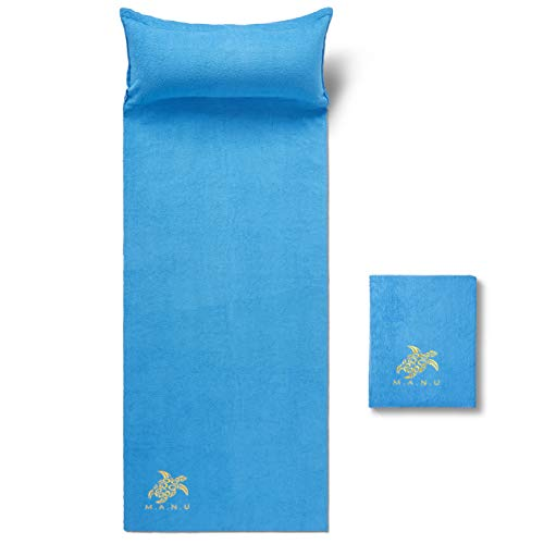 M.A.N.U - Ultra-Soft Beach Towel Inflatable Pillow - Compact Quick Dry Camping Towel Removable Air Head Rest - Lightweight & Highly Absorbent 100% Cotton Pool Towel (Blue)