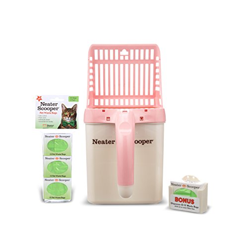 (NEATER PET BRANDS - Neater Scooper and 60 Count Refill Bag Bundle - Cat Litter Sifter Scoop System with Extra Waste Bags (Pink))