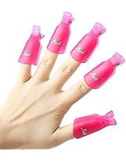 JUNGEN 10 Piezas Clip de Removedor de Esmaltes de Uña Plástico Herramientas de Eliminación de Gel de Uñas Pinza de Arte de Uñas
