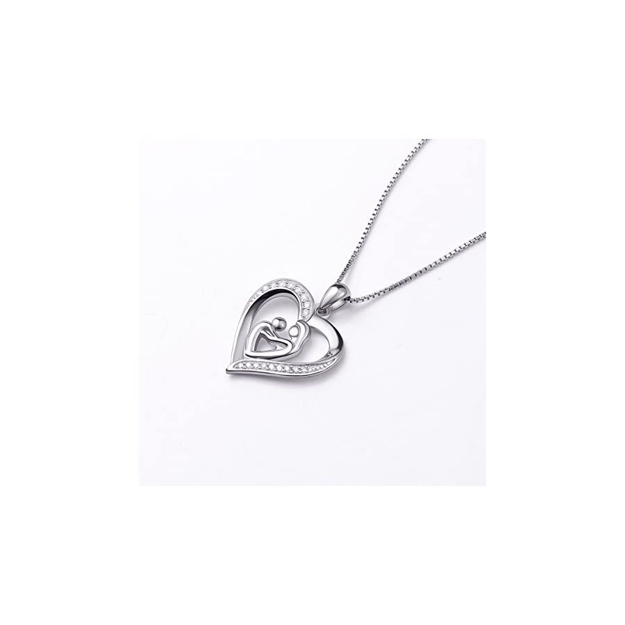 (Mother Holding Child) Sterling Silver Mothers Love Heart CZ Pendant Women Necklace 18""