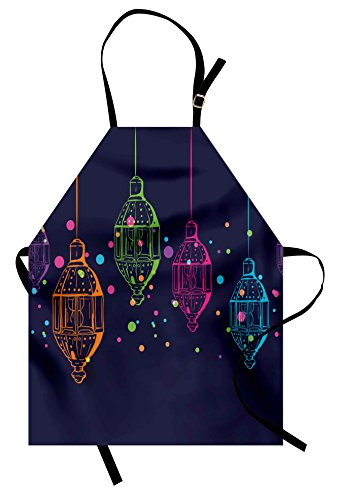 Ambesonne Lantern Apron, Candles in Night Sketch in with Dots Arabian Motifs, Unisex Kitchen Bib Apron with Adjustable Neck for Cooking Baking Gardening, Dark Purple Multicolor ()