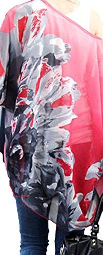 erdbeerloft - Camisas - Túnica - manga 3/4 - Semitransparente - para mujer rojo rojo medium