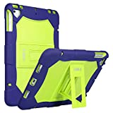 ULAK iPad 9.7 Case 2018 iPad 6th Generation Case / 2017 iPad 5th Generation Case, iPad Air Case, Heavy Duty Protection Shockproof Protective Case w/Kickstand for iPad 9.7 2018/2017, Blue+Lime Green