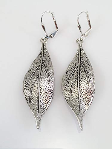 Long Pewter Leaf Earrings ()
