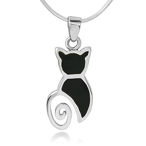 Enamel Cat Silver (925 Sterling Silver Inlay Cat Pet lover Black Enamel Pendant Necklace for Women, 18