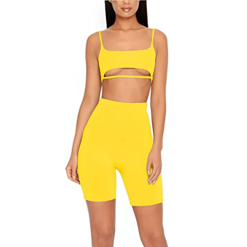(LUFENG Women's Suit Two Pieces Set Sexy Sleeveless Strapless Crop Top and Shorts Set Yellow S)